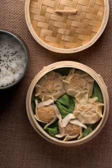 Free Dumplings And Rice In Baskets Stock Photos - 5442753