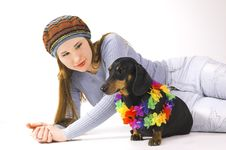 Free The Girl With A Dog Stock Image - 5443211