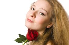 Free The  Blonde With A Rose Stock Photo - 5443230