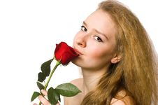 Free The  Blonde With A Rose Royalty Free Stock Image - 5443236