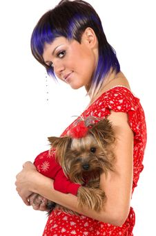 Free The Girl And Small Dog Royalty Free Stock Photo - 5443265