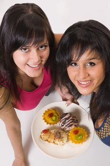 Free Two  Girls With Cakes Royalty Free Stock Image - 5443346