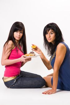 Free Two  Girls With Cakes Royalty Free Stock Photography - 5443347