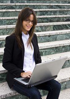 Young Businesswoman On Stairs Stock Image
