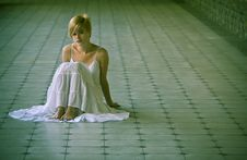 Free Young Blonde On The Floor Stock Image - 5445431