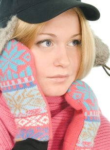 Free Blue-eyed Blonde In Fur Cap Stock Photography - 5445452