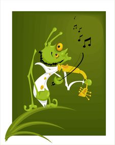Free Grasshopper With A Violin Royalty Free Stock Photos - 5445538