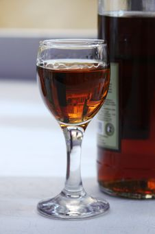 Free Glass Of Cognac, Bottle Royalty Free Stock Image - 5445916