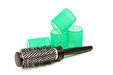 Free Curlers With Hairbrush Stock Photography - 5446422