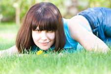 Free Girl With Dandelions Stock Photo - 5446630