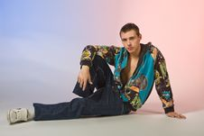 Free The Young Man Posing In Studio Stock Photography - 5447482