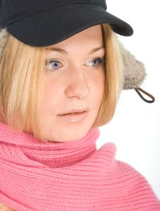 Free Blue-eyed Blonde In Fur Cap And  Pink Scarf Stock Photos - 5447783