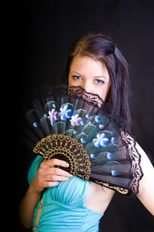 Free Girl Holding A Fan Stock Photo - 5448290
