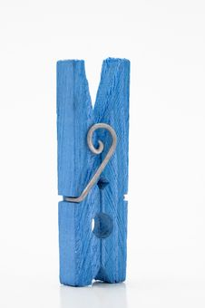 Free Blue Clothespin On A White Background Royalty Free Stock Image - 5449546