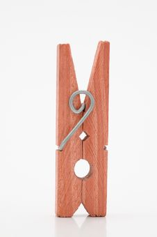 Free Blue Clothespin On A White Background Royalty Free Stock Image - 5449566