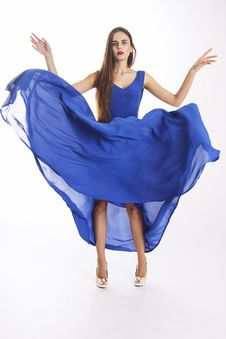 Gorgeous Woman In Amazing Blue Dress Royalty Free Stock Photos