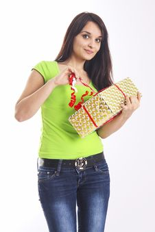 Free Teen Girl With Present Box Royalty Free Stock Image - 54405616