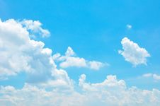 Bright Summer Blue Sky And Clouds As Background Stock Photography