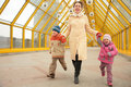 Free Mother With Children On Footbridge Royalty Free Stock Images - 5451639