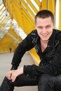Free Smiling Guy  On Footbridge Stock Photos - 5451783