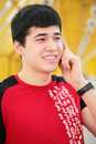Free Young Man Talks By  Cell Phone On Footbridg Stock Images - 5451794