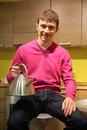 Free Young Man In Kitchen Stock Photography - 5453212