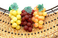 Free Three Bunches Of Grapes In Basket. Royalty Free Stock Image - 5456096