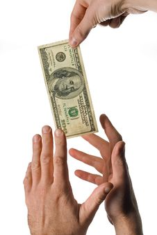 Free Hands Stretching For Dollars Royalty Free Stock Photography - 5450347