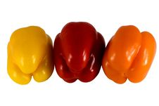 Free Sweet Peppers Of Three Colors Royalty Free Stock Photos - 5450458