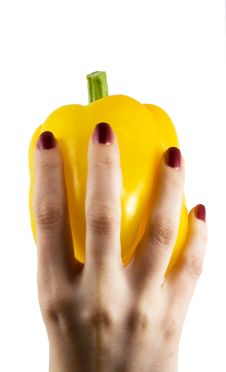 Free Yellow Pepper In A Womanish Hand Royalty Free Stock Image - 5450486