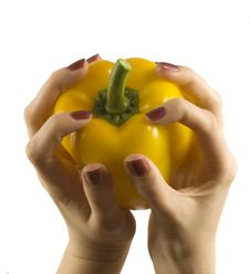 Free Pepper In A Womanish Hand Royalty Free Stock Photos - 5450608