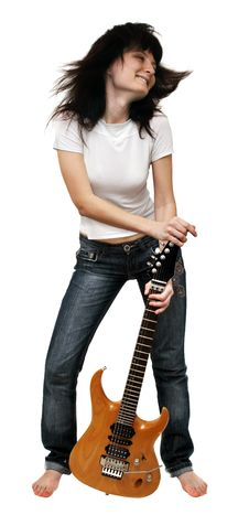 Free Girl Shaking Her Head Holding An Electric Guitar Royalty Free Stock Photography - 5450637