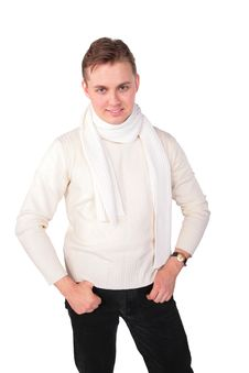 Free Young Man In White Sweater Poses Stock Image - 5450741