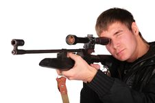 Free Young Man To Aim From Sniper Gun Royalty Free Stock Photo - 5450785