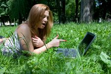 Free Portrait Of  Beautiful Young Girl With Laptop Stock Photography - 5450822