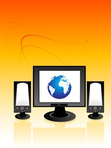 Free Monitor And Speakers Royalty Free Stock Photography - 5450917