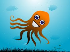 Free Octopus And Fish Royalty Free Stock Photos - 5450958