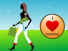 Free Lady With Shopping Symbole Royalty Free Stock Images - 5451039