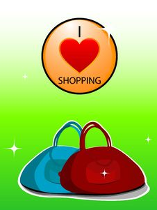 Love Shopping Symbole With Purse Royalty Free Stock Image