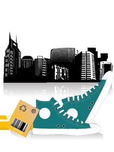 Free Pari Of Shoe With City Royalty Free Stock Photography - 5451077