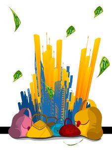Free Many Purse With City Royalty Free Stock Photo - 5451095
