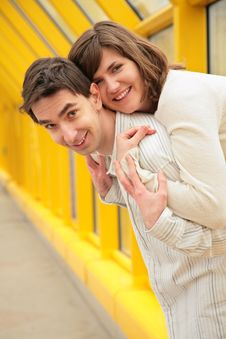 Free Girl Embraces Boy On  Footbridge Stock Photos - 5451333