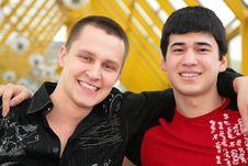 Free Two Friends On Footbridge Royalty Free Stock Image - 5451866