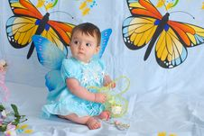 Free Baby Girl With Butterfly Wings Stock Photography - 5452262