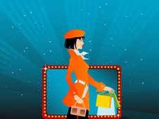 Free Lady With Shopping Bags Stock Photography - 5452282
