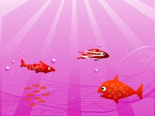 Sun Ray In Water With Fish Royalty Free Stock Photography