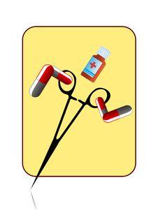 Free Scissor And Medicine Stock Image - 5452421