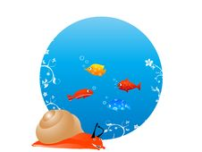 Free Snail With Fish Royalty Free Stock Images - 5452439