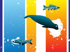 Free Fish With Grunge Stain Royalty Free Stock Photos - 5452448