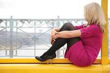 Free Young Blonde Sits In Window Royalty Free Stock Photos - 5452468